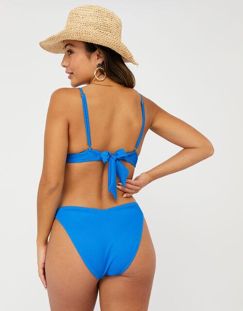 Ribbed Triangle Bikini Top, Blue (BLUE), large
