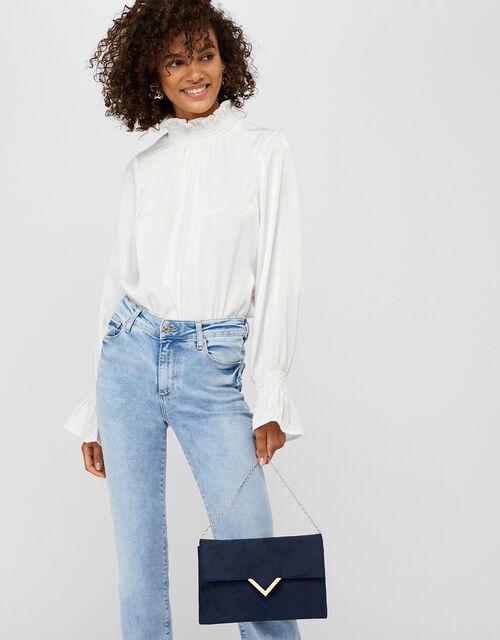 Natalie Suedette Envelope Bag, Blue (NAVY), large