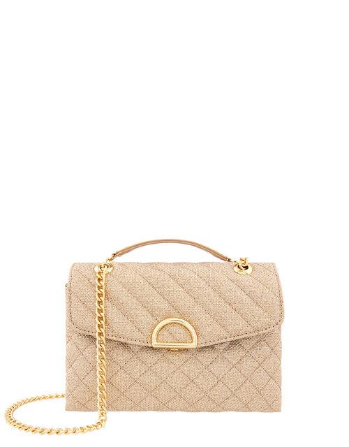 Ayda Quilted Metallic Shoulder Bag, Metalic (METALLICS), large