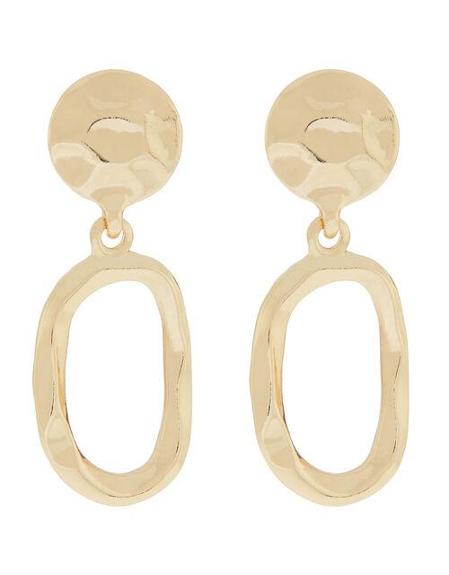 Mini Hammered Doorknocker Hoop Earrings, , large