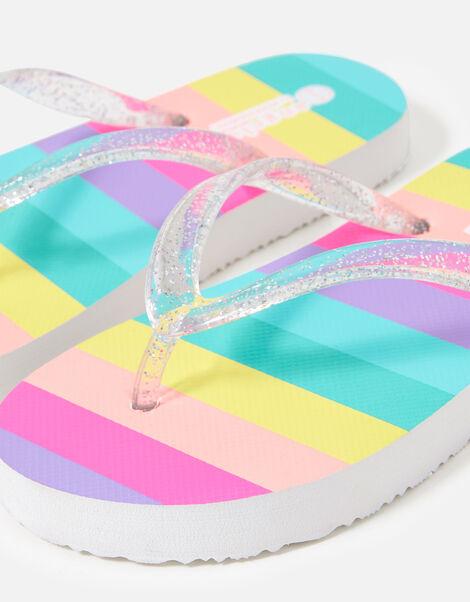 Rainbow Stripe Flip Flops Multi, Multi (BRIGHTS-MULTI), large