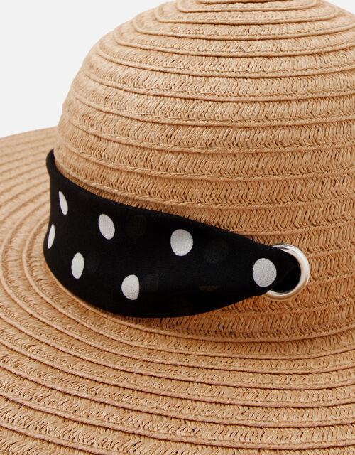 Polka Dot Tie Floppy Hat, Natural (NATURAL), large