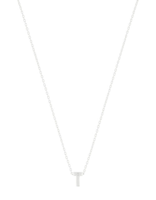 Sterling Silver Sparkle Initial Necklace - T, , large