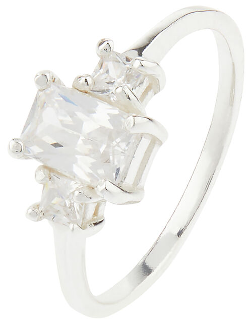 Sterling Silver Baguette Cut Trilogy Ring, White (ST CRYSTAL), large