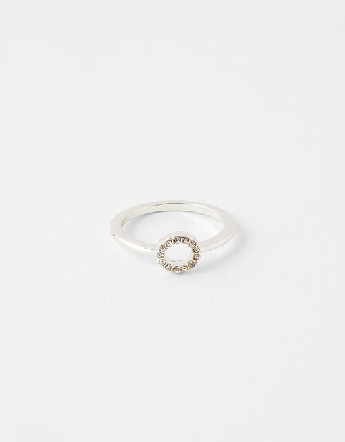 Pave Cut Out Circle Ring, White (CRYSTAL), large