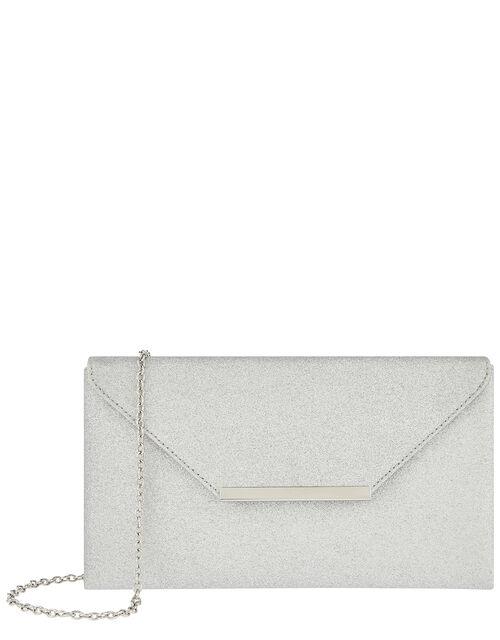 Glitter Clutch Bag, Silver (SILVER), large