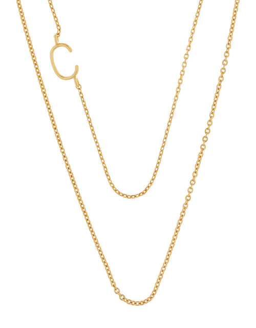 Gold-Plated Double Chain Initial Necklace - C, , large