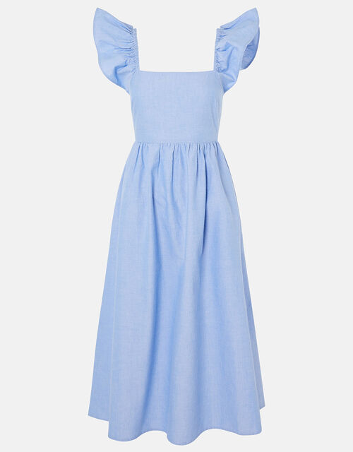 Frill Shoulder Midi Dress in Organic Cotton, Blue (BLUE), large