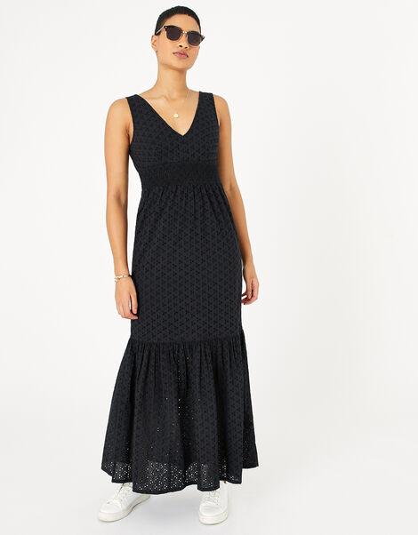 Broderie Maxi Dress Black, Black (BLACK), large