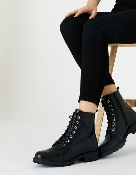 Croc Print Lace-Up Chunky Boots Black, Black (BLACK), large