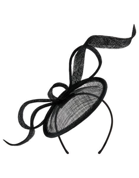 Bow Disc Fascinator Black, Black (BLACK), large