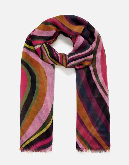 Retro Swirl Scarf in Recycled Polyester , , large