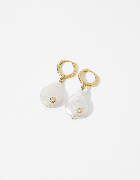 Gold-Plated Freshwater Pearl Drop Earrings, , large