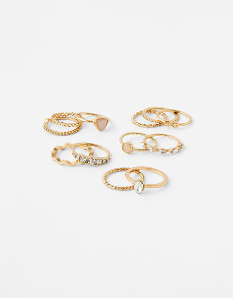 Stone and Sparkle Ring Multipack Gold, Gold (GOLD), large