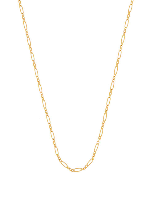 Gold-Plated Mixed Link Chain Necklace, , large