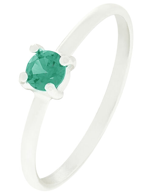 Sterling Silver Gem Stacking Ring, Green (GREEN), large