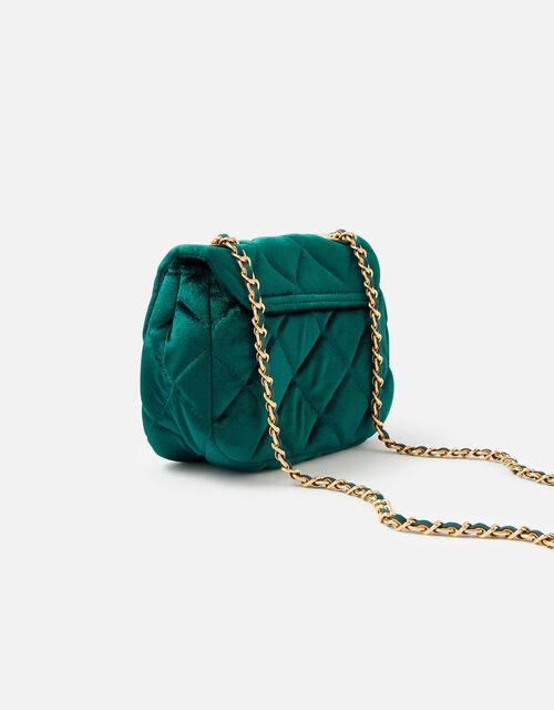 Lucy Velvet Cross-Body Bag , Green (GREEN), large