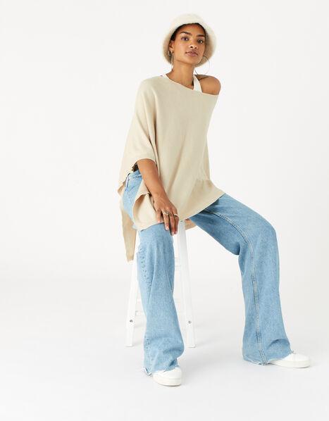 Lightweight Knit Poncho Cream, Cream (CREAM), large