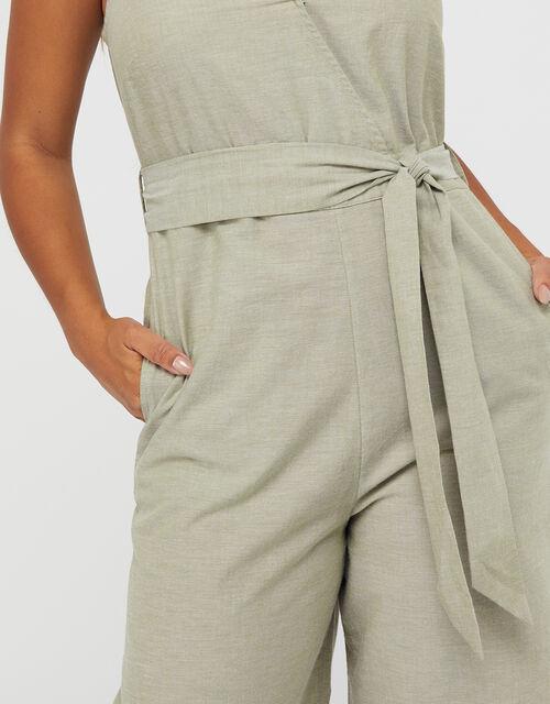 Tie Belt Jumpsuit, Green (KHAKI), large