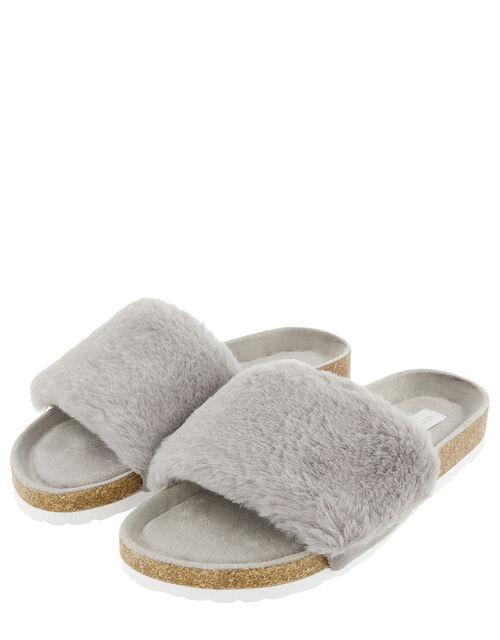 Fluffy Slider with Cork Base, Grey (GREY), large