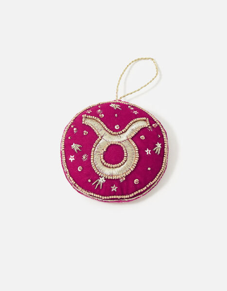 Embellished Star Sign Hanging Decoration Pink, Pink (FUCHSIA), large