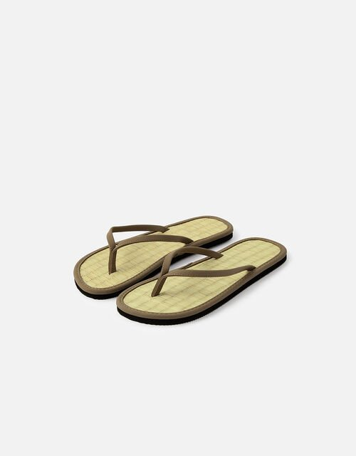 Plain Seagrass Flip Flops , Green (KHAKI), large