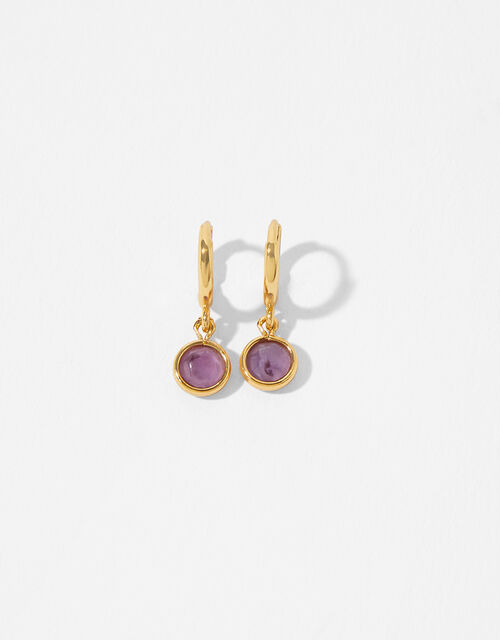 Gold-Plated Birthstone Earrings - February, , large