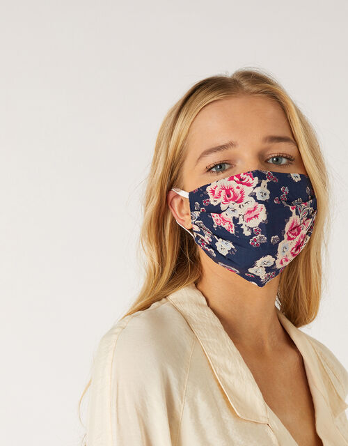 Floral Pleated Face Covering in Pure Cotton, , large