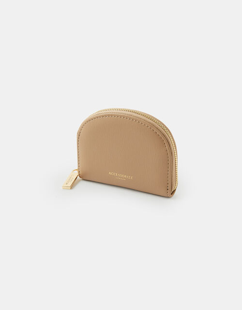 Crescent Zip Coin Purse, Cream (TAUPE), large