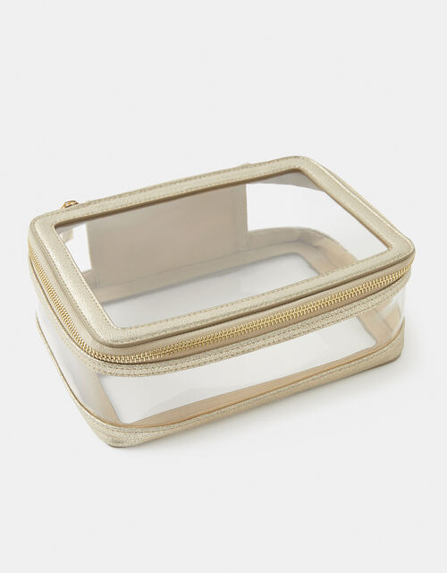Gold Trim Clear Pouch Bag, , large
