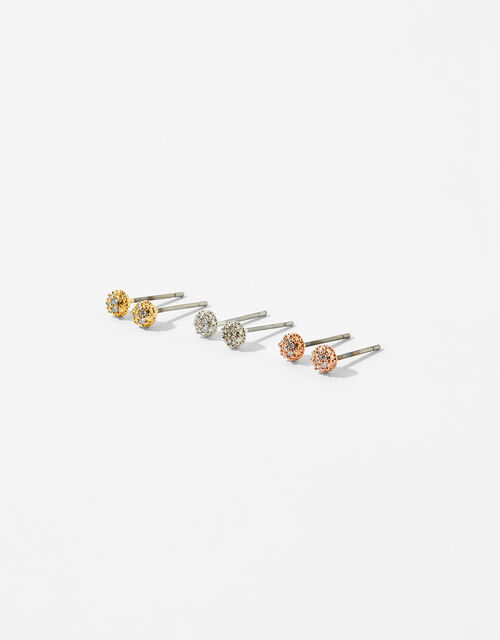 MIxed Pave Ball Stud Earring Set, , large