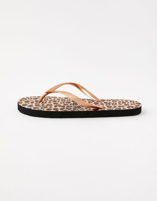 Leopard Print Flip Flops, Multi (DARKS-MULTI), large