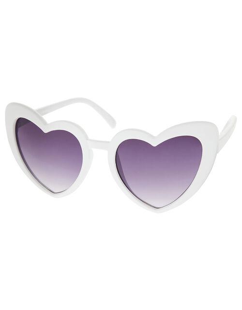 Love Heart Sunglasses, White (WHITE), large