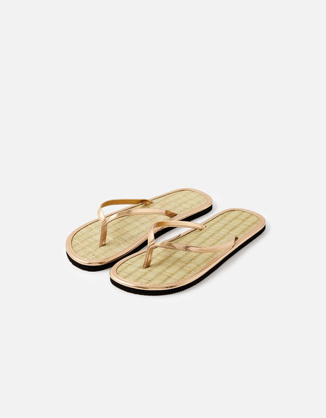 Plain Seagrass Flip Flops  Gold, Gold (GOLD), large