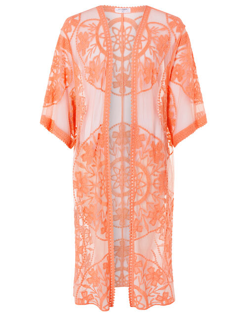 Jaki Long Lace Kimono, Orange (CORAL), large