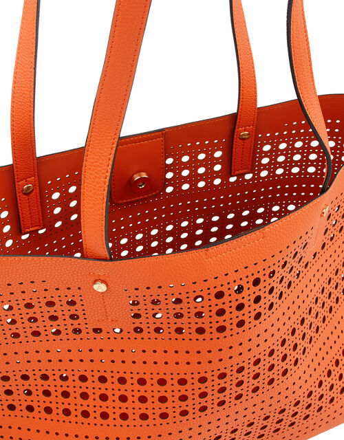 Perforated Shopper with Detachable Zip Pouch, Orange (ORANGE), large