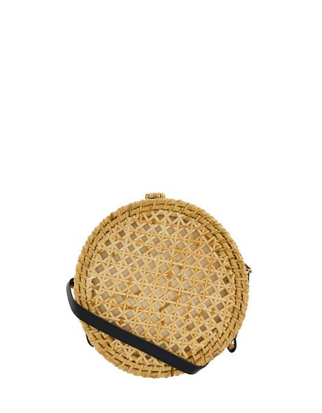 Circle Wicker Cross-Body Bag, , large