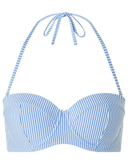 Stripe Moulded Cup Bikini Top, Blue (BLUE), large