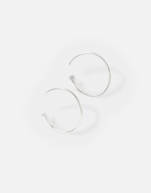 Sterling Silver Molten Hoop Earrings, , large