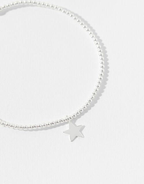 Sterling Silver Star Charm Stretch Bracelet, , large