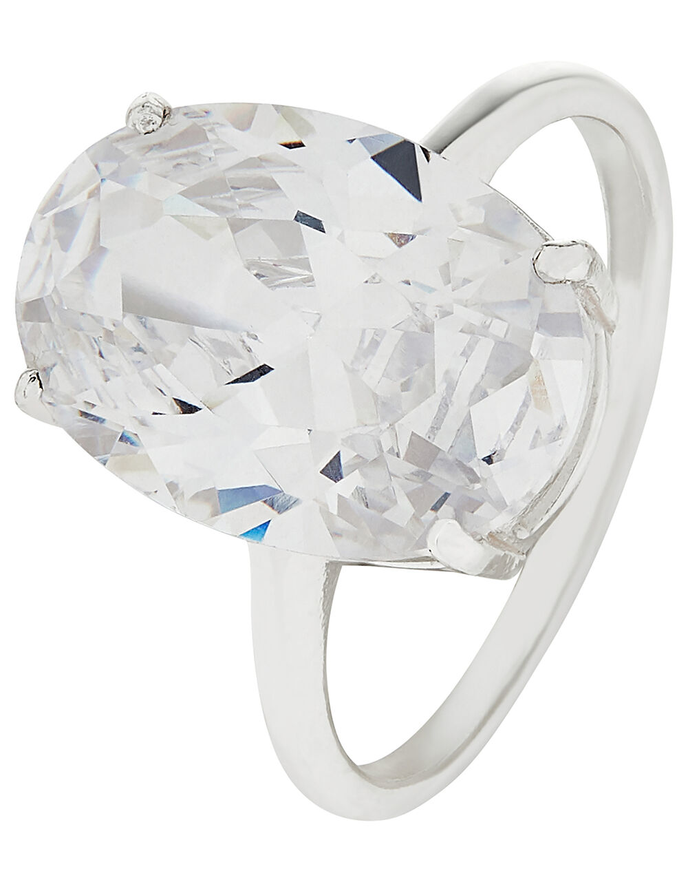 Sterling Silver Oval Cubic Zirconia Ring, White (ST CRYSTAL), large