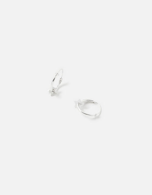 Sterling Silver Star Disc Hoops, , large