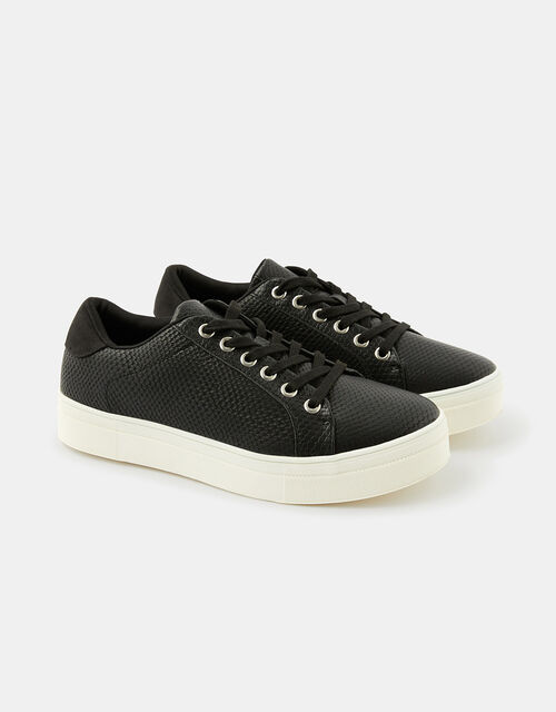 Animal Textured Trainers, Black (BLACK), large
