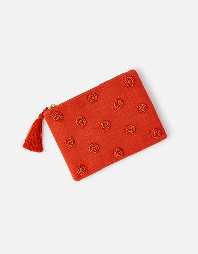Beaded Polka Dot Pouch Bag Orange, Orange (ORANGE), large