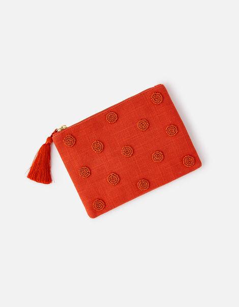 Beaded Polka Dot Pouch Bag Orange, Orange (ORANGE), large