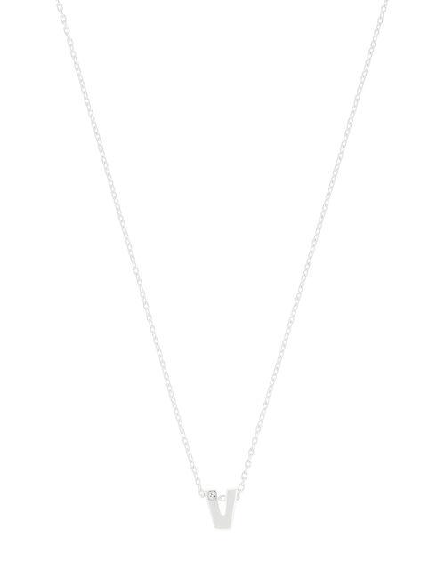 Sterling Silver Sparkle Initial Necklace - V, , large