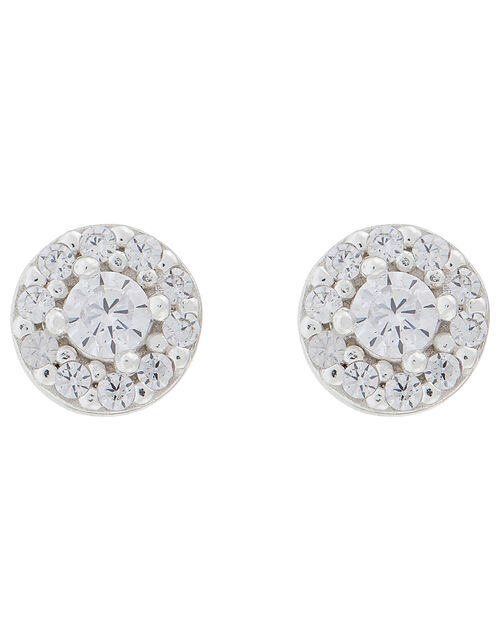 Sterling Silver Sparkle Halo Stud Earrings, , large