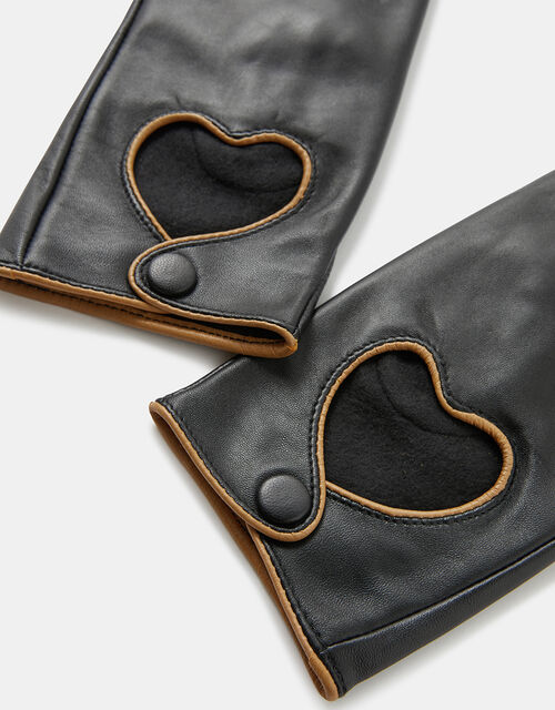 Cut-Out Heart Leather Gloves, Black (BLACK), large