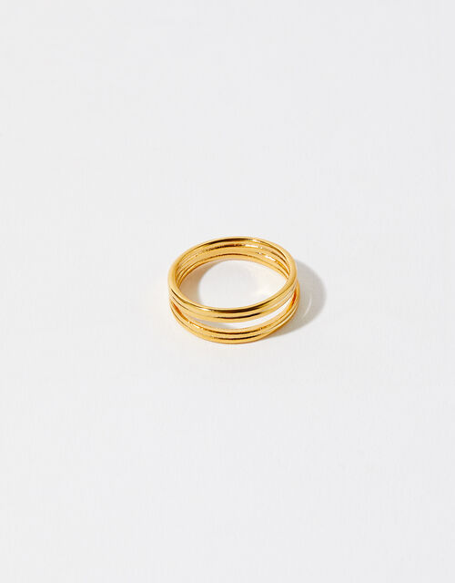 Gold-Plated Double Band Ring, Gold (GOLD), large