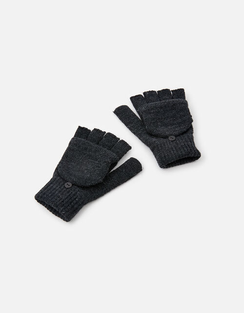 Plain Capped Gloves, Grey (GREY), large